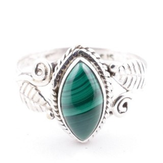 58621-19 STERLING SILVER 13 X 8 MM RING WITH MALACHITE SIZE 19