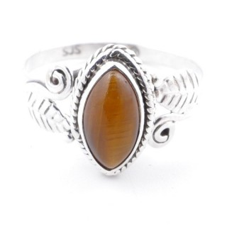 58622-16 STERLING SILVER 13 X 8 MM RING WITH TIGER'S EYE SIZE 16