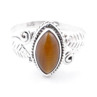 58622-17 STERLING SILVER 13 X 8 MM RING WITH TIGER'S EYE SIZE 17