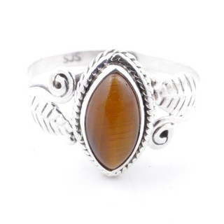 58622-18 STERLING SILVER 13 X 8 MM RING WITH TIGER'S EYE SIZE 18