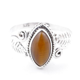 58622-19 STERLING SILVER 13 X 8 MM RING WITH TIGER'S EYE SIZE 19