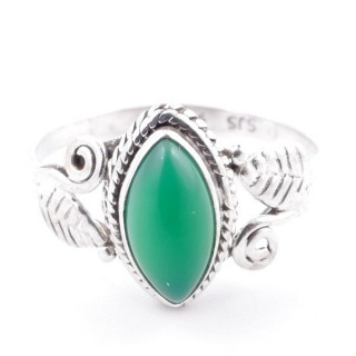 58623-16 STERLING SILVER 13 X 8 MM RING WITH GREEN AVENTURINE SIZE 16