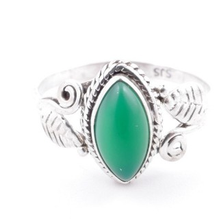 58623-17 STERLING SILVER 13 X 8 MM RING WITH GREEN AVENTURINE SIZE 17