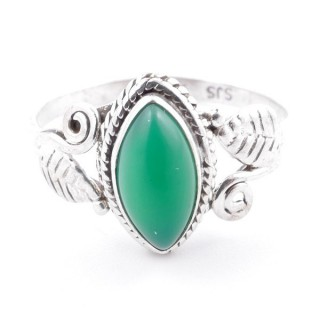 58623-18 STERLING SILVER 13 X 8 MM RING WITH GREEN AVENTURINE SIZE 18