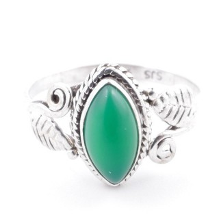58623-19 STERLING SILVER 13 X 8 MM RING WITH GREEN AVENTURINE SIZE 19