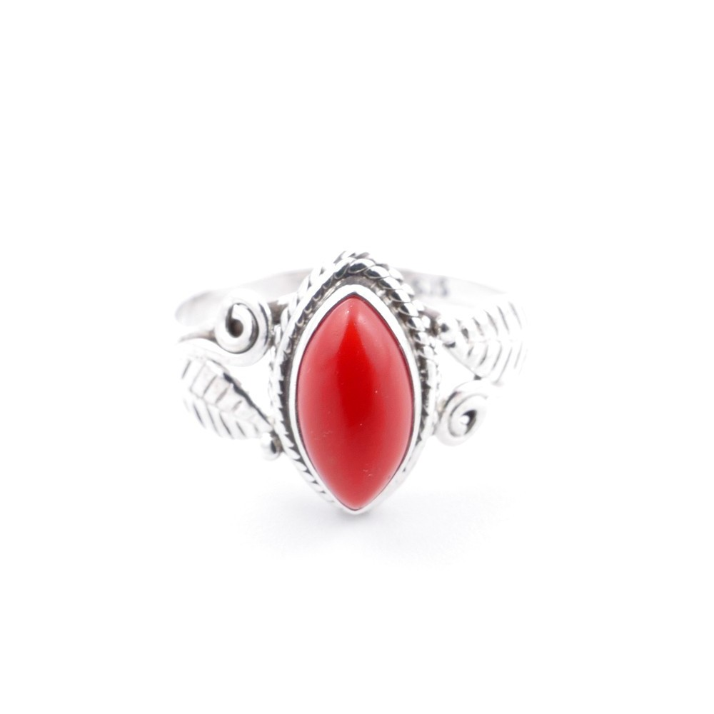 58624-16 STERLING SILVER 13 X 8 MM RING WITH SYNTHETIC CORAL SIZE 16
