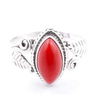 58624-18 STERLING SILVER 13 X 8 MM RING WITH SYNTHETIC CORAL SIZE 18