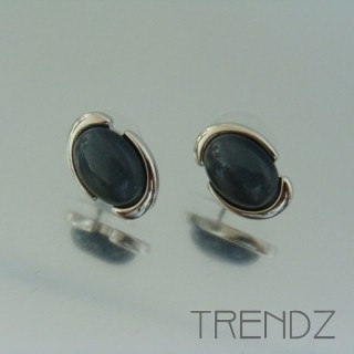 19360 CAT'S EYE RHODIUM PLATED FASHION EARRINGS