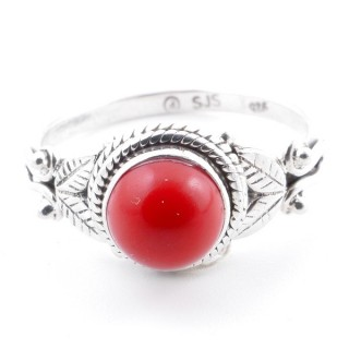 58635-16 STERLING SILVER 10 MM RING WITH SYNTHETIC CORAL SIZE 16