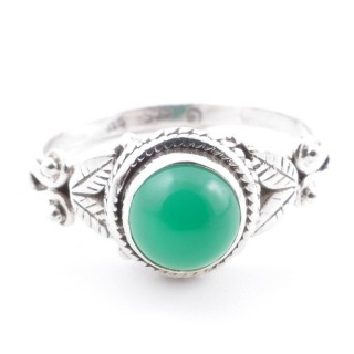 58634-16 STERLING SILVER 10 MM RING WITH GREEN AVENTURINE SIZE 16