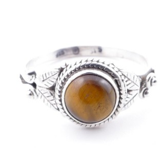 58633-18 STERLING SILVER 10 MM RING WITH TIGER'S EYE SIZE 18