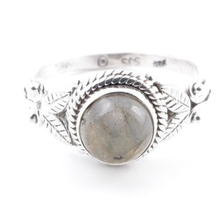 58631-18 STERLING SILVER 10 MM RING WITH LABRADORITE SIZE 18