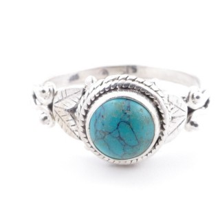 58630-19 STERLING SILVER 10 MM RING WITH TURQUOISE SIZE 19