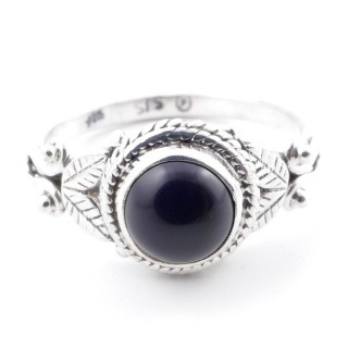 58627-18 STERLING SILVER 10 MM RING WITH ONYX SIZE 18