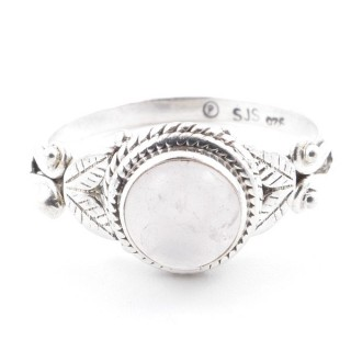 58625-18 STERLING SILVER 10 MM RING WITH ROSE QUARTZ SIZE 18