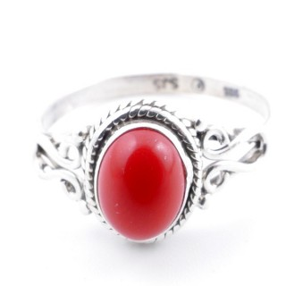 58646-16 STERLING SILVER 11 X 9 MM RING WITH SYNTHETIC CORAL SIZE 16