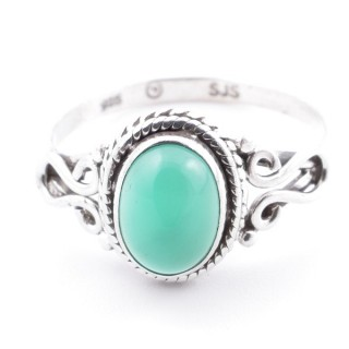 58645-19 STERLING SILVER 11 X 9 MM RING WITH GREEN AVENTURINE SIZE 19