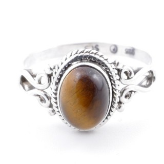 58644-18 STERLING SILVER 11 X 9 MM RING WITH TIGER'S EYE SIZE 18