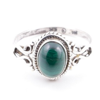 58643-16 STERLING SILVER 11 X 9 MM RING WITH MALACHITE SIZE 16