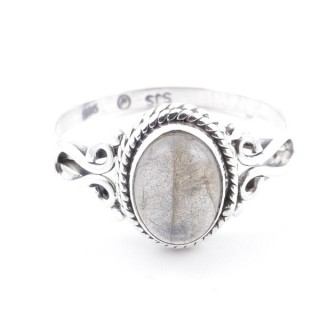 58642-19 STERLING SILVER 11 X 9 MM RING WITH LABRADORITE SIZE 19