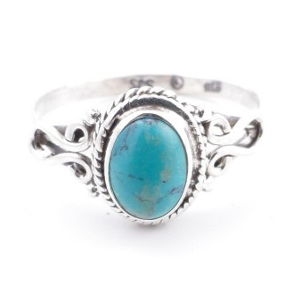 58641-18 STERLING SILVER 11 X 9 MM RING WITH TURQUOISE SIZE 18
