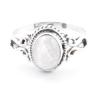 58639-19 STERLING SILVER 11 X 9 MM RING WITH MOONSTONE SIZE 19