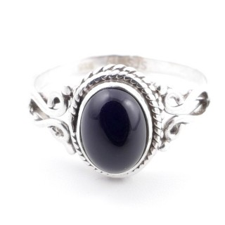 58638-17 STERLING SILVER 11 X 9 MM RING WITH ONYX SIZE 17