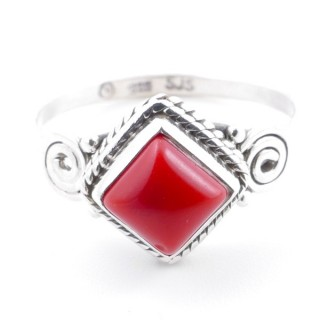 58657-16 STERLING SILVER 11 MM RING WITH SYNTHETIC CORAL SIZE 16