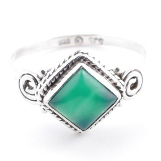 58656-19 STERLING SILVER 11 MM RING WITH GREEN AVENTURINE SIZE 19
