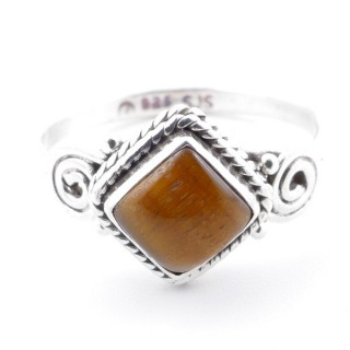 58655-16 STERLING SILVER 11 MM RING WITH TIGER'S EYE SIZE 16