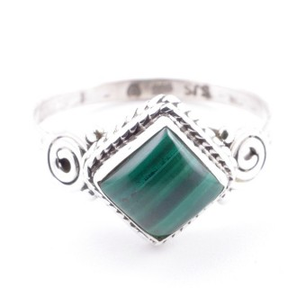 58654-16 STERLING SILVER 11 MM RING WITH MALACHITE SIZE 16