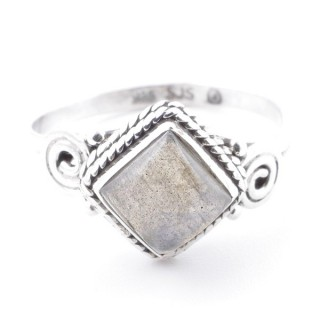 58653-17 STERLING SILVER 11 MM RING WITH LABRADORITE SIZE 17