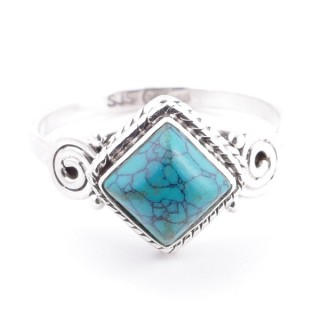 58652-16 STERLING SILVER 11 MM RING WITH TURQUOISE SIZE 16