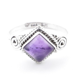 58651-16 STERLING SILVER 11 MM RING WITH AMETHYST SIZE 16