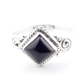 58649-19 STERLING SILVER 11 MM RING WITH ONYX SIZE 19