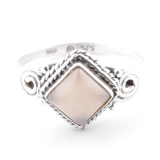 58647-18 STERLING SILVER 11 MM RING WITH ROSE QUARTZ SIZE 18