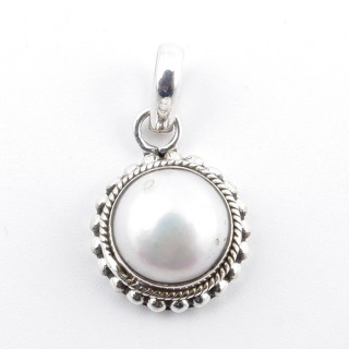 58707 STERLING SILVER AND PEARL 18 X 14 MM PENDANT