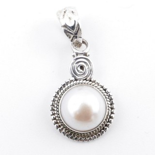58709 STERLING SILVER AND PEARL 23 X 14 MM PENDANT