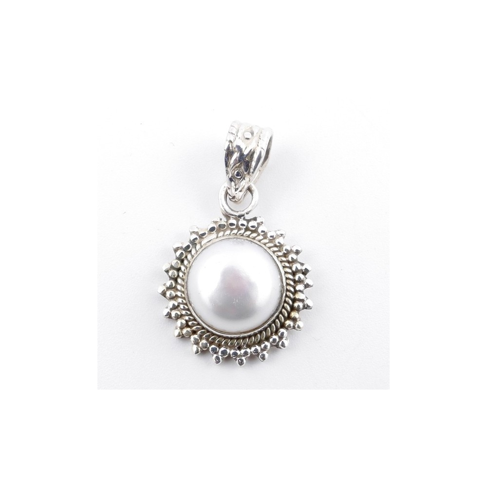 58710 STERLING SILVER AND PEARL 21 X 17 MM PENDANT