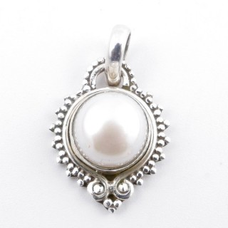 58711 STERLING SILVER AND PEARL 21 X 16 MM PENDANT