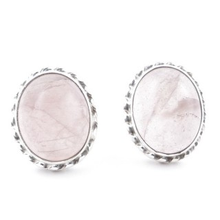 58513-01 SILVER 925 12 X 10 MM POST EARRINGS WITH STONE IN ROSE QUARTZ