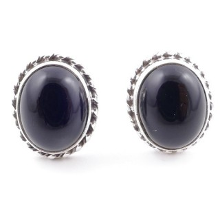 58513-04 SILVER 925 12 X 10 MM POST EARRINGS WITH STONE IN ONYX