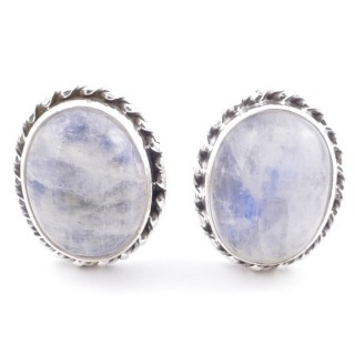 58513-05 SILVER 925 12 X 10 MM POST EARRINGS WITH STONE IN MOONSTONE