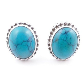 58513-07 SILVER 925 12 X 10 MM POST EARRINGS WITH STONE IN TURQUOISE
