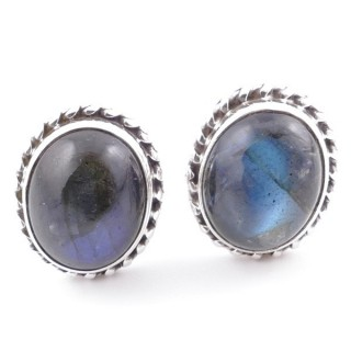 58513-08 SILVER 925 12 X 10 MM POST EARRINGS WITH STONE IN LABRADORITE