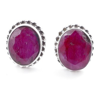 58513-09 SILVER 925 12 X 10 MM POST EARRINGS WITH STONE IN FACETED RUBY