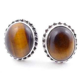 58513-11 SILVER 925 12 X 10 MM POST EARRINGS WITH STONE IN TIGER'S EYE