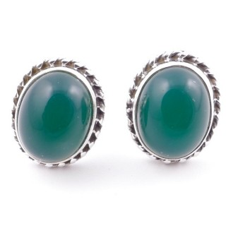 58513-16 SILVER 925 12 X 10 MM POST EARRINGS WITH STONE IN GREEN AVENTURINE