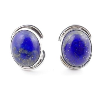 58514-02 SILVER 925 12 x 9 MM POST EARRINGS WITH STONE IN LAPIS LAZULI