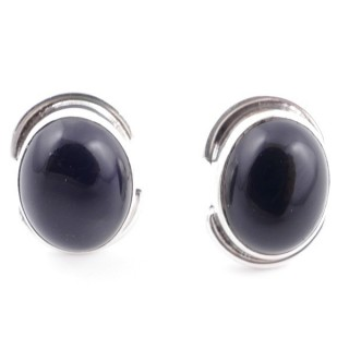 58514-04 SILVER 925 12 x 9 MM POST EARRINGS WITH STONE IN ONYX